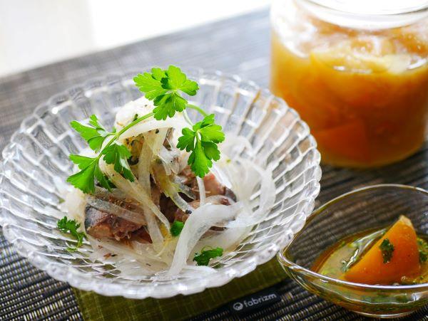 自家製塩レモンで作る「サバの缶詰のサラダ」